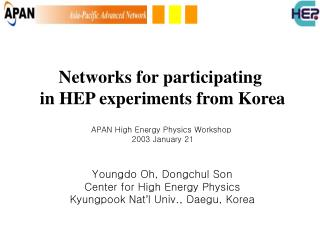 Networks for participating  in HEP experiments from Korea