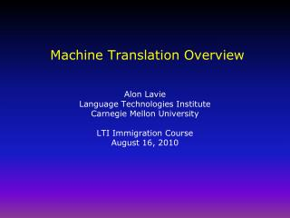 Machine Translation Overview