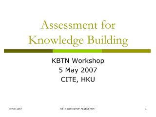 Assessment for Knowledge Building