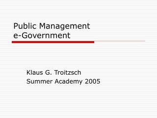 Public Management e-Government