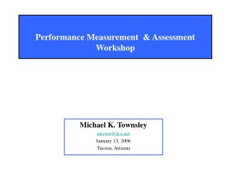 Performance Measurement  & Assessment Workshop