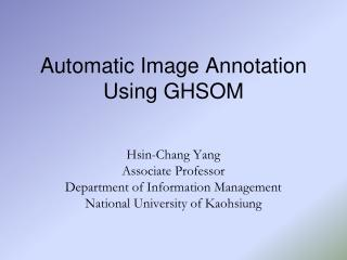 Automatic Image Annotation Using GHSOM