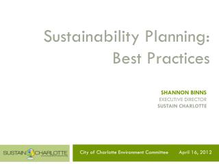 Sustainability Planning: Best Practices
