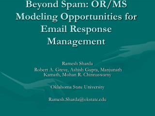 Beyond Spam: OR/MS Modeling Opportunities for Email Response Management