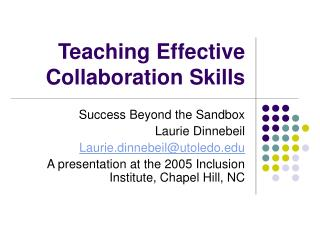 Teaching Effective Collaboration Skills