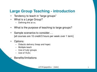 Large Group Teaching - introduction