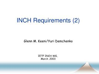 INCH Requirements (2)