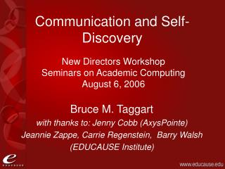 Communication and Self-Discovery