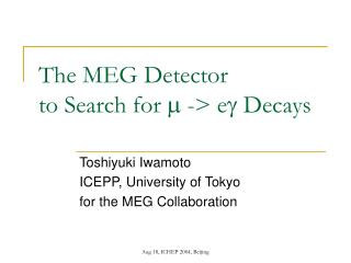 The MEG Detector  to Search for  m  -> e g  Decays