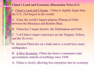 China's Land and Economy (Discussion Notes 6-1)