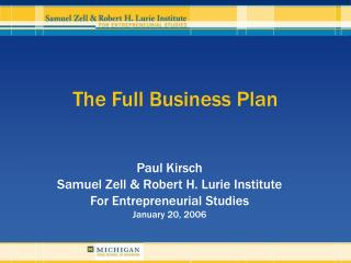 The Full Business Plan