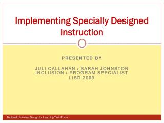 Implementing Specially Designed Instruction