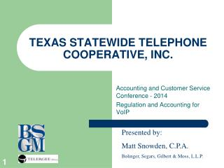 TEXAS STATEWIDE TELEPHONE COOPERATIVE, INC.