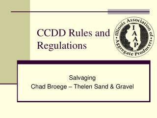 CCDD Rules and Regulations