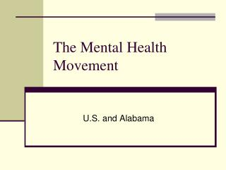 The Mental Health Movement