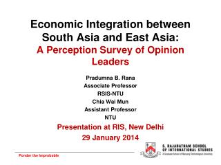 Economic Integration between South Asia and East Asia: A Perception Survey of Opinion Leaders