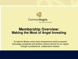 Membership Overview: Making the Most of Angel Investing