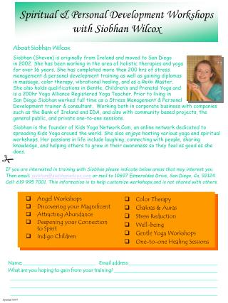 Spiritual & Personal Development Workshops  with Siobhan Wilcox