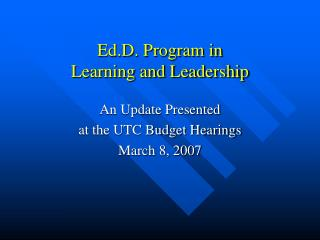 Ed.D. Program in  Learning and Leadership