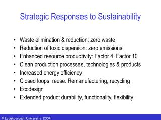 Strategic Responses to Sustainability