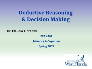 Deductive Reasoning  & Decision Making