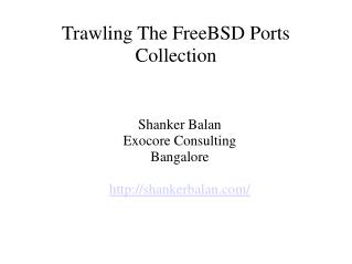 Trawling The FreeBSD Ports Collection