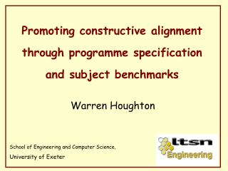 Promoting constructive alignment through programme specification and subject benchmarks