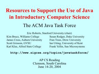 Resources to Support the Use of Java in Introductory Computer Science