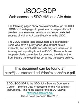 JSOC-SDP Web access to SDO HMI and AIA data