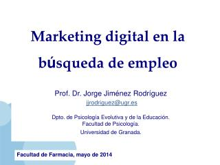 Marketing digital en la  b ú squeda de empleo