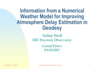 Information from a Numerical Weather Model for Improving Atmosphere Delay Estimation in Geodesy