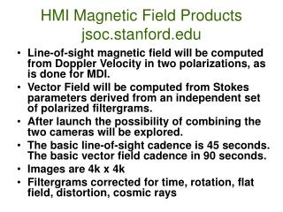 HMI Magnetic Field Products jsoc.stanford