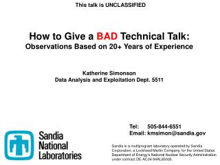 How to Give a  BAD  Technical Talk: Observations Based on 20+ Years of Experience