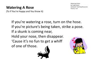 Watering A Rose By Teddy Slater Scholastic Teaching Resources Fluency -ose