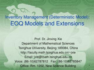 Inventory Management (Deterministic Model): EOQ Models and Extensions