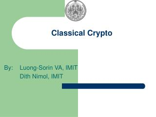 Classical Crypto