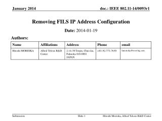Removing FILS IP Address Configuration