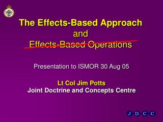 The Effects-Based Approach and Effects-Based Operations