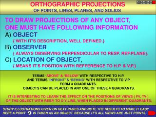 TO DRAW PROJECTIONS OF ANY OBJECT,  ONE MUST HAVE FOLLOWING INFORMATION A) OBJECT