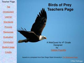 Birds of Prey                     Teachers Page                               A WebQuest for 4 th  Grade