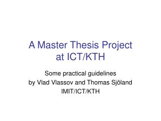 A Master Thesis Project at ICT/KTH
