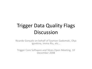 Trigger Data Quality Flags Discussion