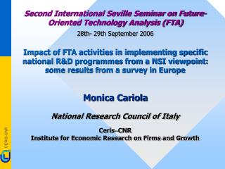 Second International Seville Seminar on Future-Oriented Technology Analysis (FTA)