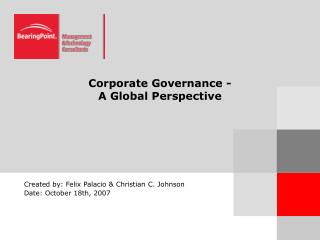 Corporate Governance -   A Global Perspective