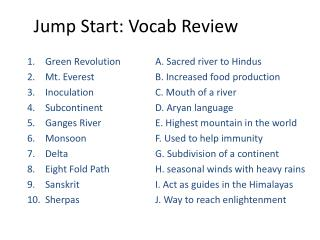 Jump Start:  Vocab  Review