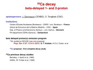 35 Ca decay beta-delayed 1- and 2-proton