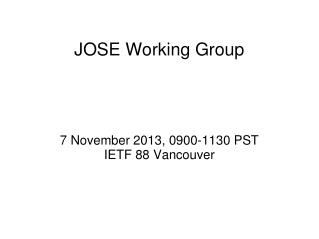 JOSE Working Group