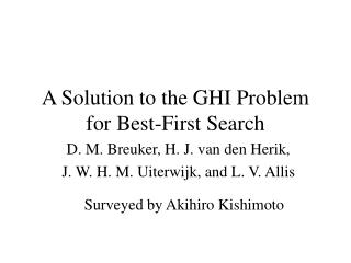 A Solution to the GHI Problem for Best-First Search