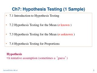 Ch7: Hypothesis Testing (1 Sample)