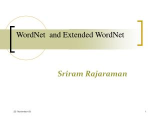 WordNet  and Extended WordNet